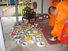 Buddhist Monks blessing Muay Thai camp.