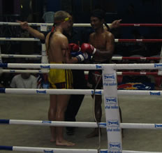 Muay Thai match at Bangla Muay Thai stadium.