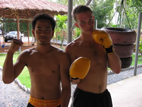 Making Friends at Tiger Muay Thai, Phuket, Thailand.