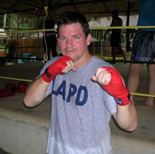 Police officer from U.S training MMA Mixed Martial Arts.