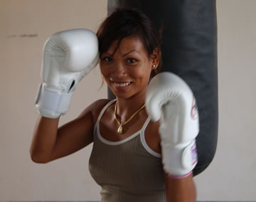 Female Muay Thai fighter.