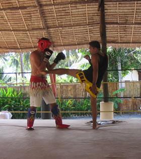 Muay Thai training pictures.