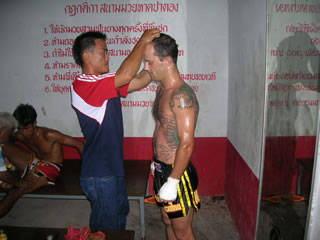 cooling down after a Muay Thai fight in Phuket, Thailand.