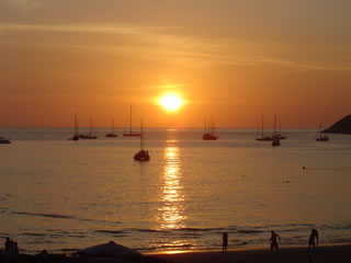 Sunset Nai Harn Beach.  February 2006.