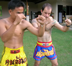 Traditional Muay Thai training in Phuket, Thailand.
