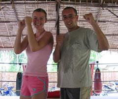 having fun training Muay Thai in Phuket, Thailand.