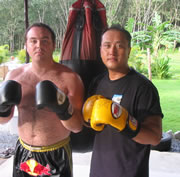 Friends training Muay Thai together.