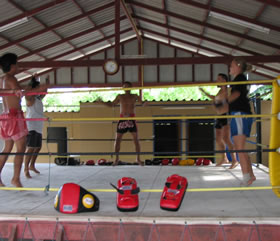 Muay Thai training photos.