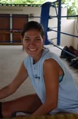 Female guest training Muay Thai.