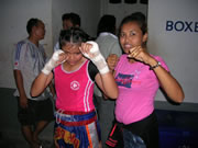Women's Muay Thai fighter
