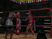 Women's Muay Thai match at Patong Stadium, Phuket, Thailand