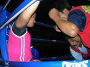round 2 in a women's muay thai fight in Patong, Thailand.